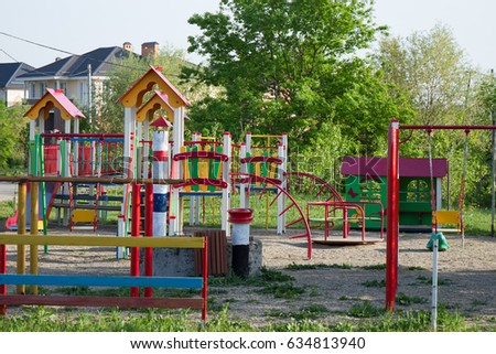 Playground Empty Have Colorful TubeChildrens Play Tunnel Iron In The