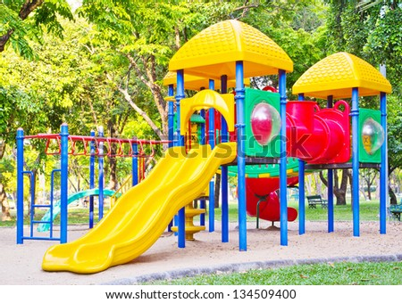 Playground in the park - stock photo