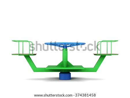 Playground merry-go-round on a white. 3d rendering. - stock photo