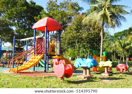 playground park, Colorful playground on yard in the park.