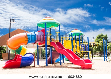PlayGround Park With Sky Background - stock photo