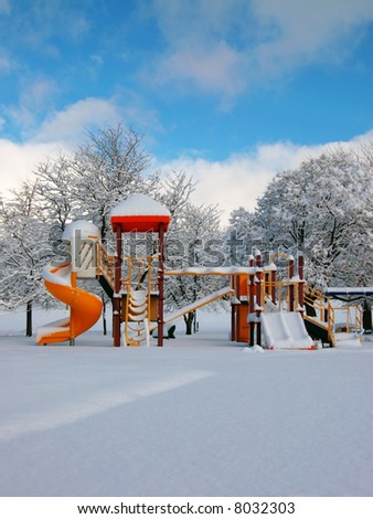 Playground with big snow