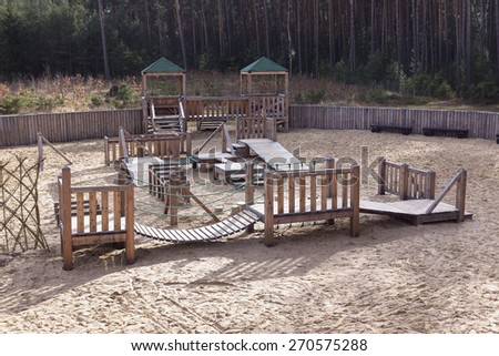 playground with sand made of wood - stock photo