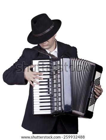 playing accordion, having fun - stock photo