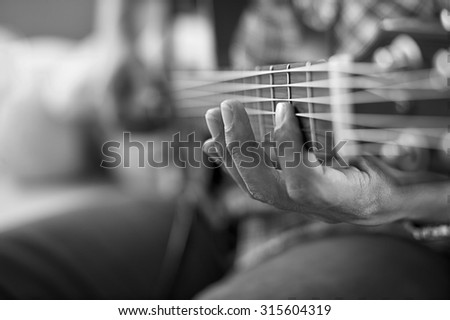 Playing Acoustic Guitar Barre Chordselective Focusblack Stock Photo ...