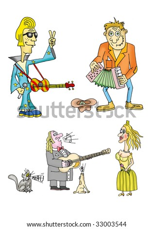 Playing and singing musician - stock photo