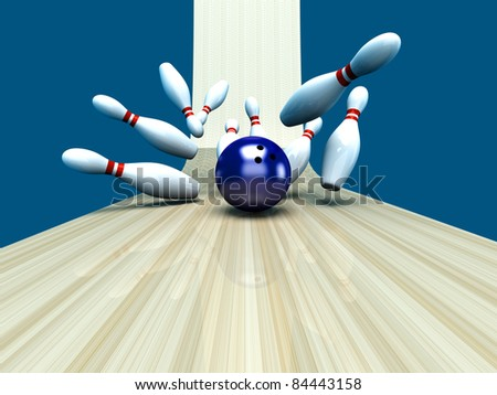 Playing bowling and hitting them all. 3D rendered Illustration.