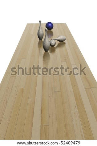 Playing bowling, pins knocked down by blue ball - stock photo