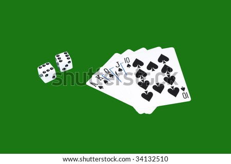 Playing card and die