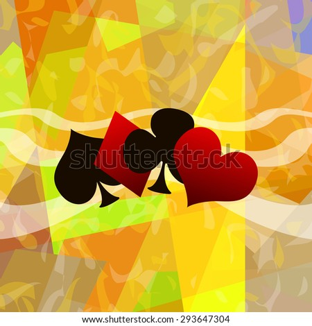 Playing card suits abstract art background - stock photo