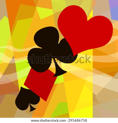 Playing card symbols abstract background - stock photo