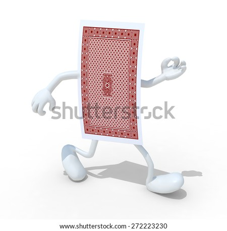 playing card with arm and legs that walk, isolated 3d illustration - stock photo