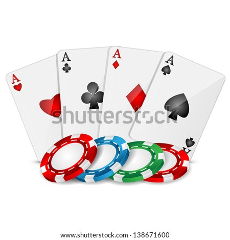 playing cards and poker chips on a white background.raster copy of vector file - stock photo