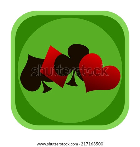 Playing cards casino gambling icon - stock photo