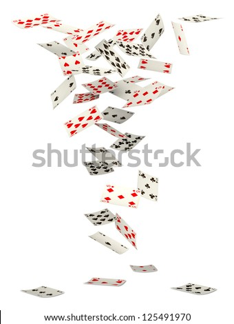 Playing cards falling down on white background - stock photo