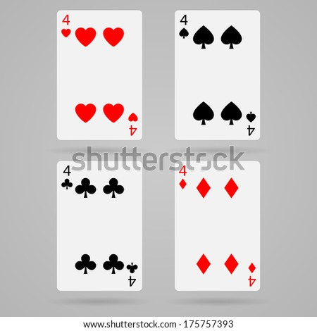 playing cards, four