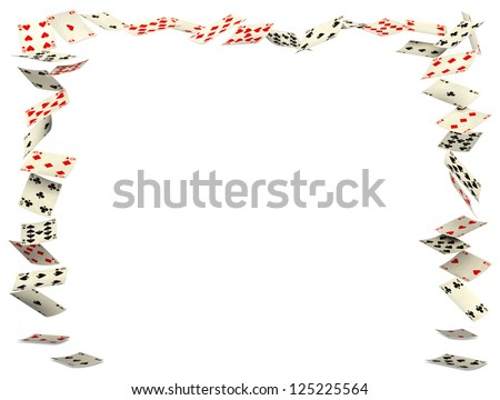 Playing cards frame falling down on white background - stock photo