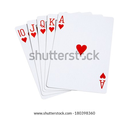 Playing cards hearts on white background - stock photo