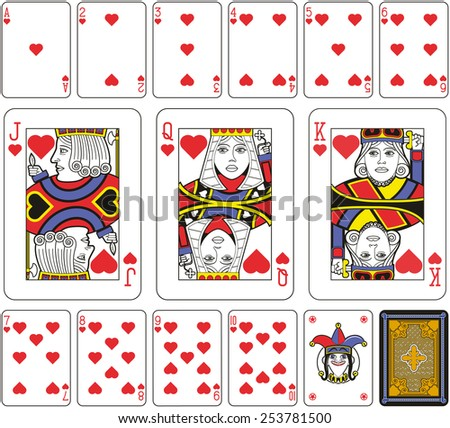 Playing cards, hearts suite, joker and back. Faces double sized. Green background. - stock photo