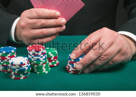 playing cards  in the hand