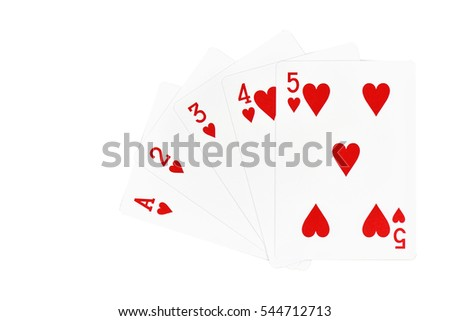 Playing cards 1, 2, 3, 4, 5,  isolated On a white background