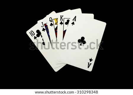 Playing cards  isolated on black background - stock photo