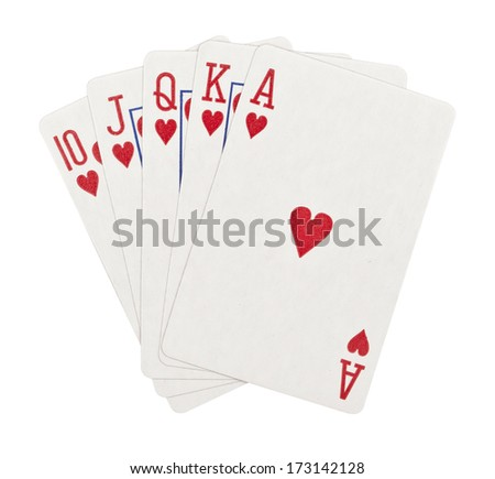 Playing cards, isolated on white background  - stock photo