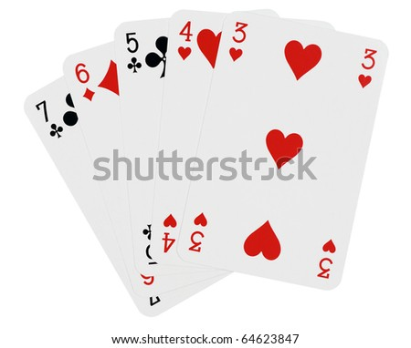 Playing cards,isolated on white with clipping path