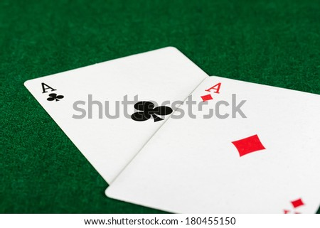 playing cards on table - stock photo