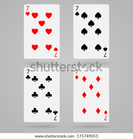 playing cards, seven