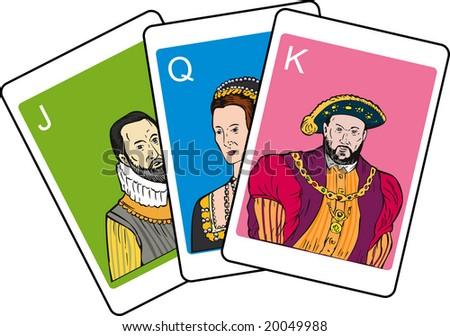 Playing cards showing king, queen and jack