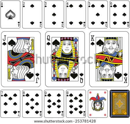 Playing cards, spades suite, joker and back. Faces double sized. Green background. - stock photo