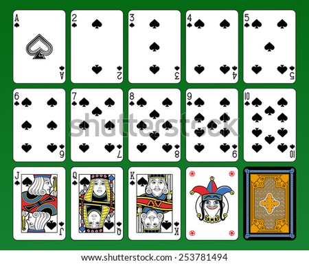 Playing cards, spades suite, joker and back. Green background. - stock photo