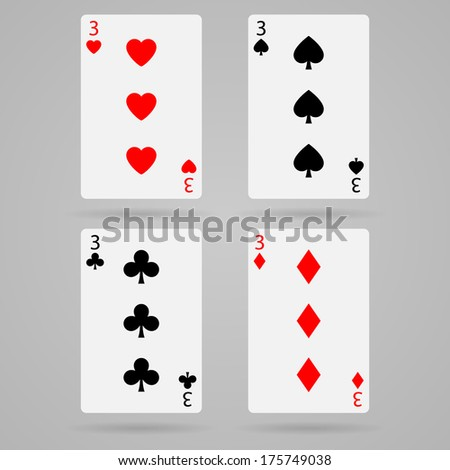 playing cards, three