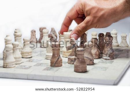 playing chess, checkers stone handmade - stock photo