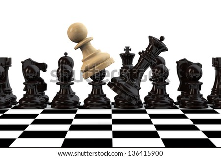Playing chess concept. Pawn with Queen fighting on a chessboard - stock photo