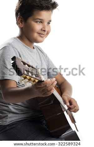 Playing Classical Guitar    - stock photo
