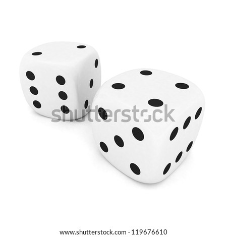 playing dice, isolated on white background