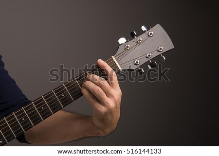 Playing F Chord On Guitar Stock Photo (Royalty Free) 516144133 ...