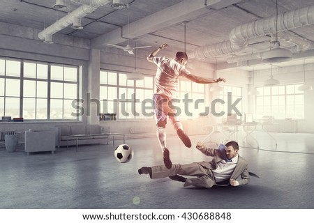 Playing football in office