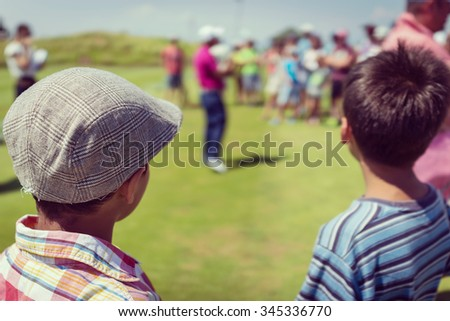 Playing golf at club - stock photo