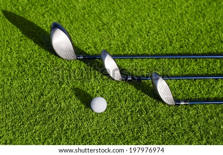 Playing golf. Golf club and ball. - stock photo