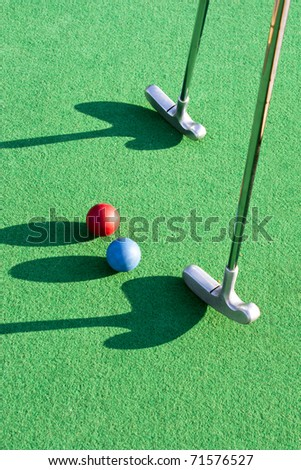 Playing golf on the green grass - stock photo