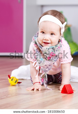 Playing happy baby girl  - stock photo