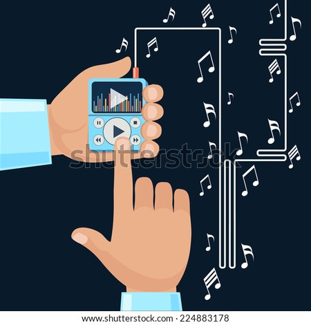 Playing music in Mp3 player hands on background with notes. Finger presses button play flat design cartoon style. Touchphone with connected headphones. Raster version - stock photo