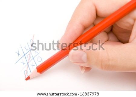 playing ouths and crosses on white - stock photo