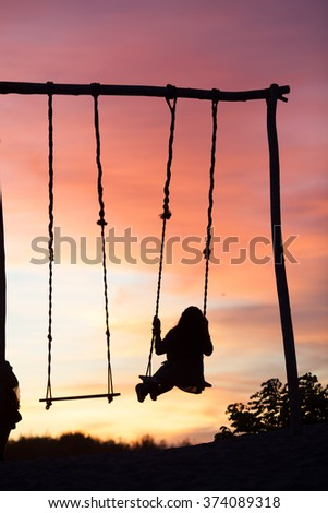 Playing, Playground, Sunset