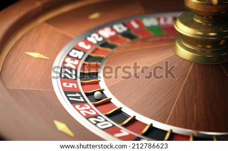 Playing roulette in the casino. Depth of field in the ball.