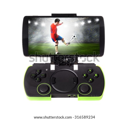playing sports game. Modern smartphone connected with gamepad, isolated on white background