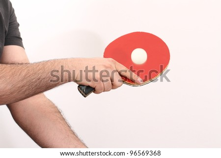 playing table tennis with the backhand - stock photo